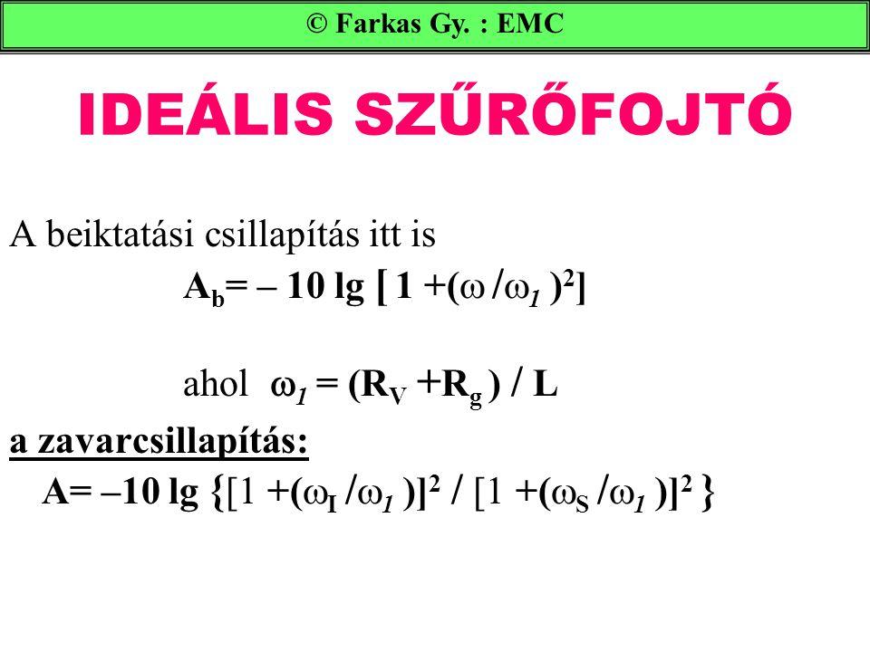© Farkas Gy. : EMC IDEÁLIS SZŰRŐFOJTÓ. A beiktatási csillapítás itt is Ab= – 10 lg [ 1 +( /1 )2] ahol 1 = (RV +Rg ) / L.
